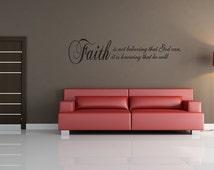 Faith Believing God Wall Decal Decor Any Color (v192)
