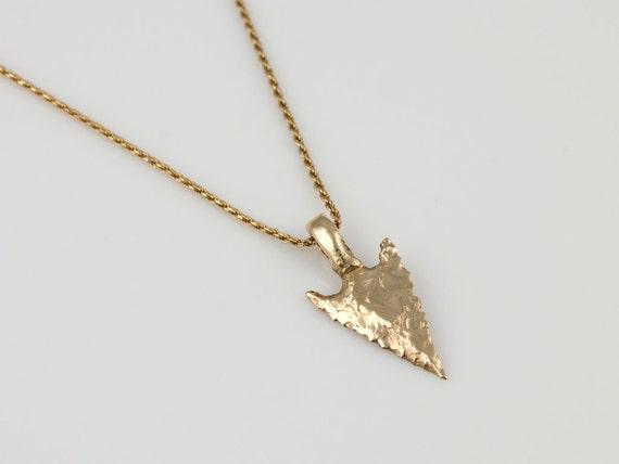 Items similar to 14k yellow gold arrowhead pendant small wintu on etsy aloadofball Images