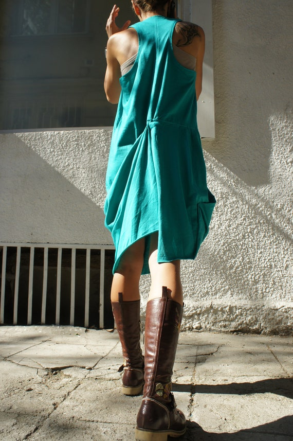 Turquoise Racer Back Asymmetrical  Dress / Extravagant Tunic Top