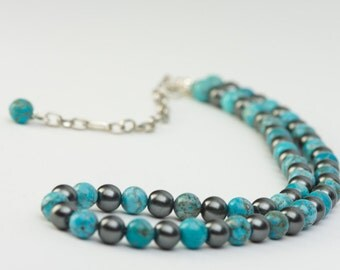 Turquoise Blue Bead Necklace, Magnesite Stone Necklace with Pearl Gray Glass Beads