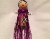 Angel ornament: wine cork body, purple flapper, silver wings, silver snowflake necklace