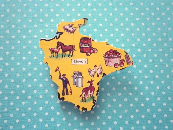 Devon Pin Badge Brooch Vintage Wood Puzzle piece