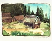 Cottage - 6x 8in. ORIGINAL watercolor painting - farmhouse village prairie