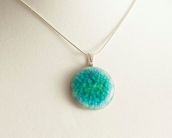 medium, round, bright teal, porcelain, crackled glass pendant