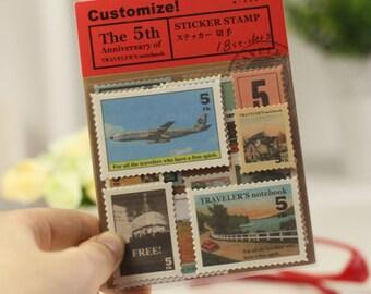 Sticker Stamp Set - Stamp Sticker Set - Deco Sticker Set - Diary Sticker - 4 sheets