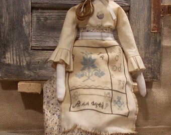 Primitive Doll Beth sewing pattern and cross stitch chart