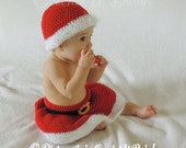 Santa Baby Crochet Hat and Skirt Photo Prop Set (2 Sizes) - PATTERN ONLY