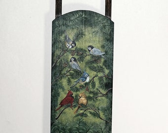 Welcome Sign Sled Painting Featuring Cardinals, Wren And Chickadee, Sales Proceeds Supports Animal Rescue