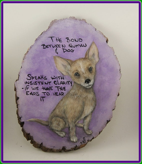 Hand Painted Wooden Chihuahua Puppy Plaque Wall Hanging Sign-Animal Charity