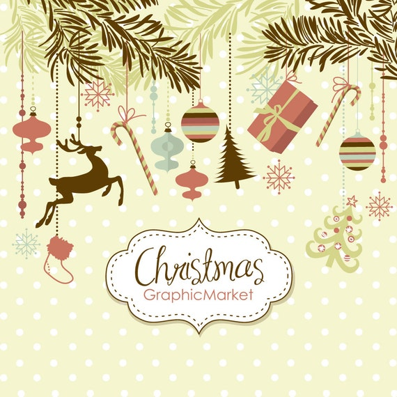 Instant Download Christmas Digital Clip Art, Card Making, Scrapbooking, ornaments, Xmas tree and digital papers Personal and Commercial Use