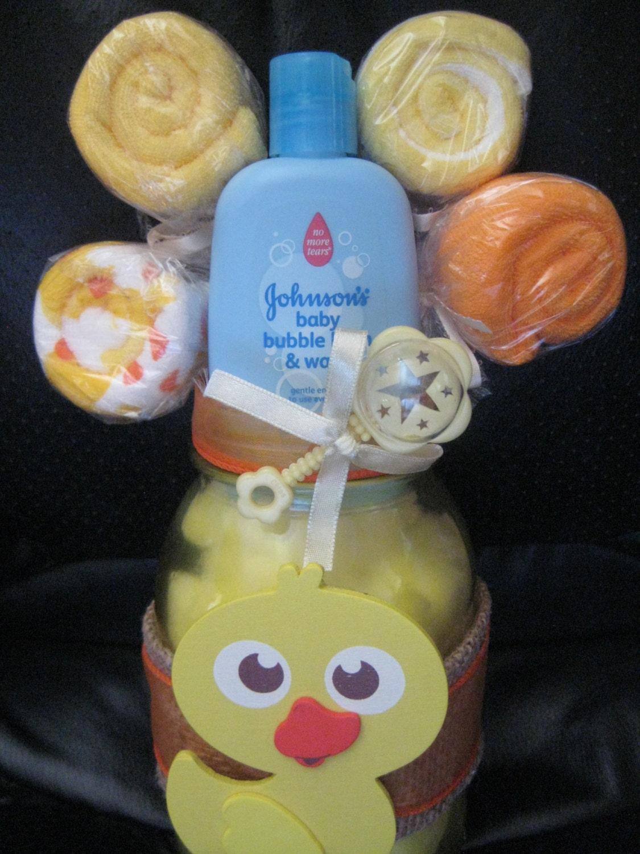 items similar to baby shower duckie mason jar centerpiece washcloth