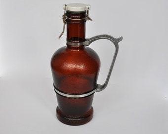 SALE Vintage German brown glass beer jug with metal handle.  Beer growler.