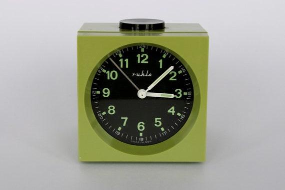 Vintage German mechanical alarm clock from Ruhla.  Green.  East Germany.  Made in GDR.