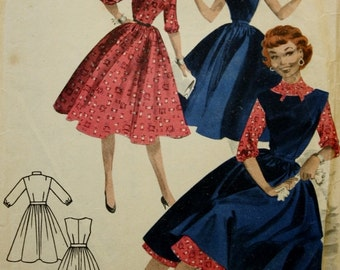 1950s /Full Skirted Dress Pattern / Jumper / Butterick 7517 / Vintage Sewing Pattern/ Bust 32