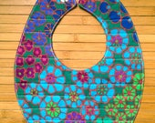 RESERVED FOR LISA:  flower garden quilted reversible baby bib