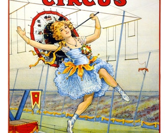 Sells Floto Circus - Madamoiselle Beeson High Wire Act - Digitally Remastered Vintage Fine Art Print / Poster