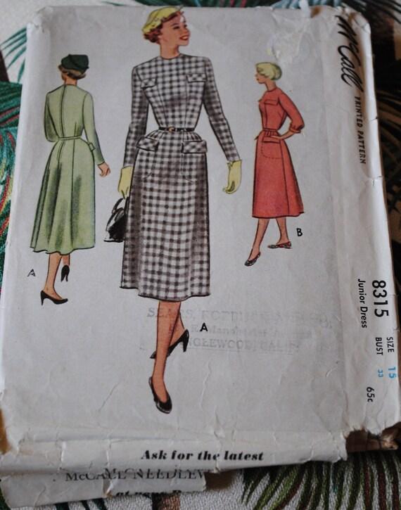McCalls 8315 - Dress 1950 - Size 15 Bust 33