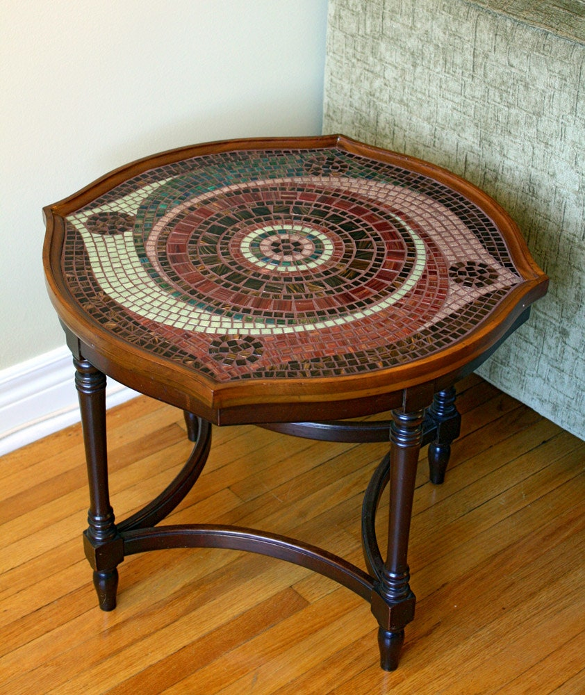 Glass Coffee Tables Etsy: Spiral Mosaic Coffee Table 10% Donation To By Fragmentalist