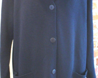 Magic Navy Blue Full Length Sweater Coat Made in Italy Size L
