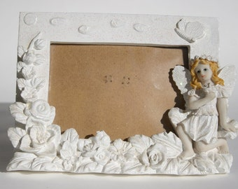 Fairy Frame Blond Girl with Sparkling Snow White Wings Butterfly Garden with Roses Daisy Photo Frame Nursery