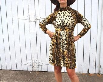 Vintage 1960s 70s Funky Leopard Print Dress / Long Batwing Sleeve / SZ SMALL