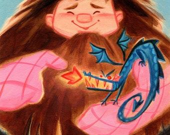 Potter Pets - Hagrid & Norberta: Art Print
