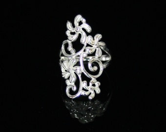 Simple Fine Siver Ring. Beautiful Filigree Classic Sterling Silver Ring.