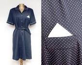 Blue summer polka dot dress 70s 80s.  M. L
