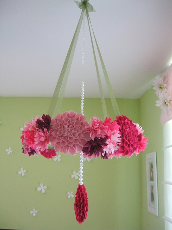 Items similar to handmade fabric flower wreath mobile for Diy felt flower mobile