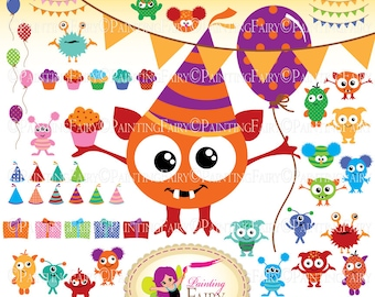 Monster Party Big clipart set Cute Digital clipart Monsters Birthday clip art Girl Boy fun party Bunting Hat Cupcake Party element pf00049-1