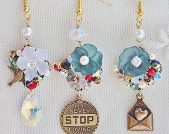 Never Stop Loving Trio Mismatched Earrings - romantic jewelry - brass word tag, love letter charm, vintage acrylic flowers & crystals