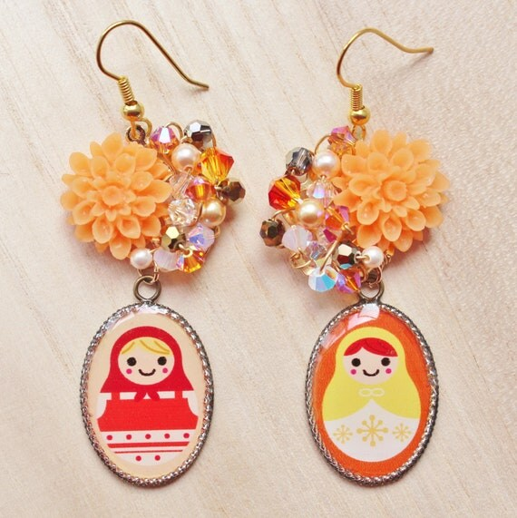Orange Matryoshka Mismatched Earrings - whimsical jewelry - with Russian nesting doll resin pendants, flower cabochons & swarovski crystals