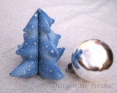 "Stuffed Christmas Tree Decoration - Starry Night - Small 4"" - blue and silver"
