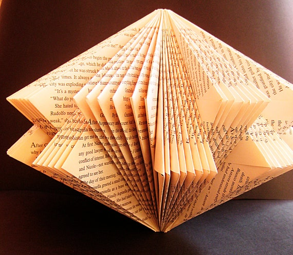 Art star book paper sculpture altered folded