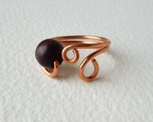 Copper Wire Ring with one dark brown wooden pearl