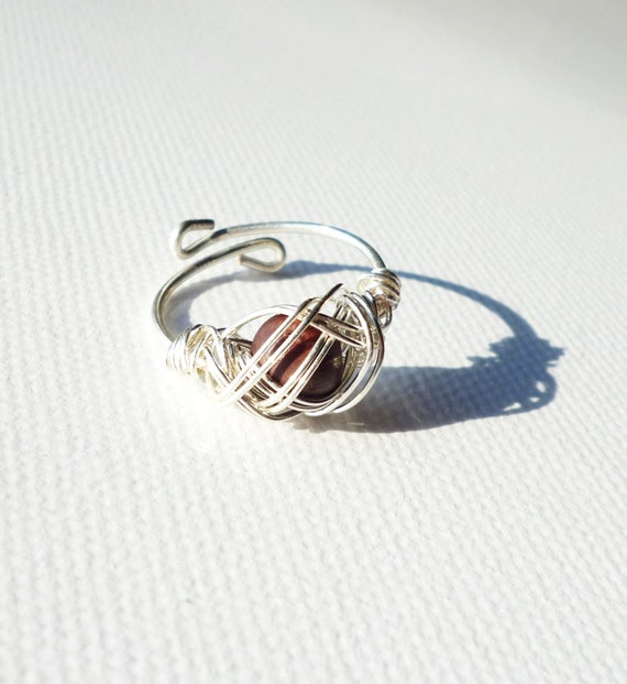 Hand formed Ring,  wire wrapped wooden pearl,  Adjustable ring