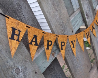 Happy Halloween Banner, Stamped Embossed and Distressed, Black and Orange Halloween Banner