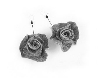 Felted Earrings felt flower nunofelt Nuno felt Silk Silkyfelted Eco handmade fairy art to wear floral fantasy Fiber Art boho