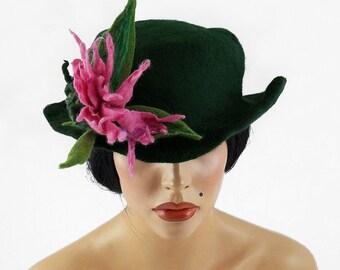 Felted Hat Designer Hat Green Hat Art Hat Art deco hat Retro hats Nunofelt Nuno felt la belle epoque