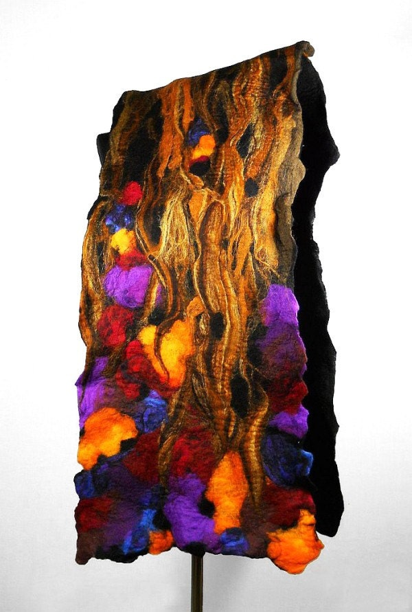 Brown Scarf Felted Scarf Nunofelt Wrap Coffee Scarves Art