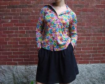 SALE Vintage 1970s Colorful Flower Shirt