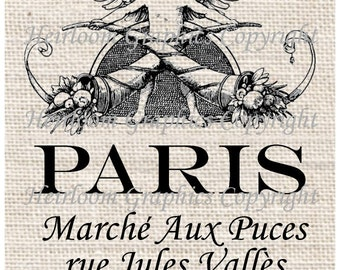 Paris Flea Market Iron On Digital Transfer French Marche Puces  Digital Download