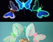Glow Butterfly Hair pins, butterfly costume, Halloween, black light reactive, uv reactive, butterfly hair clips, accessories, fairy costume