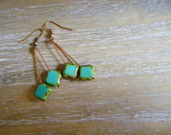 Green dangle earrings Green Bohemian glass dangle earrings Long Dangle earrings Green glass earrings
