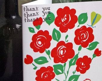 Thank You card.  Folk style Roses print.  As seen in The Independent magazine.