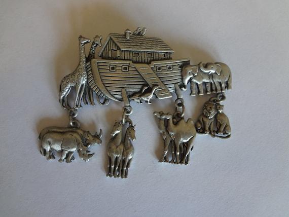 Silver Noah Brooch Pin Vintage Signed JJ Noah's Ark figural Brooch Pin Christian Religion Catholic Faith