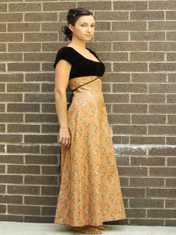 Vintage Young Edwardian Medieval Renaissance Peasant Maxi Gown Dress 1960s Small Medium