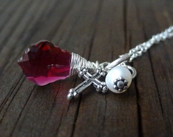 Silver Ruby Red Pink Crystal Wire Wrapped Cross Pendant with Freshwater Pearl Christian Religious Jewelry