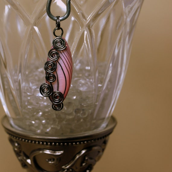 Pink and Black Wire Wrapped Pendant
