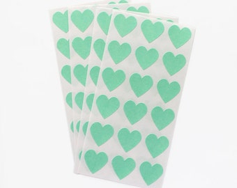 Pastel mint green heart sticker seals - set of 54